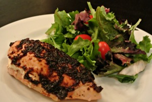 balsamic stuffed chicken and salad