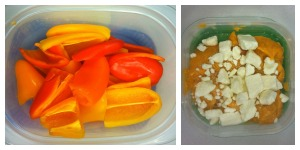 mini bell peppers and greek dip