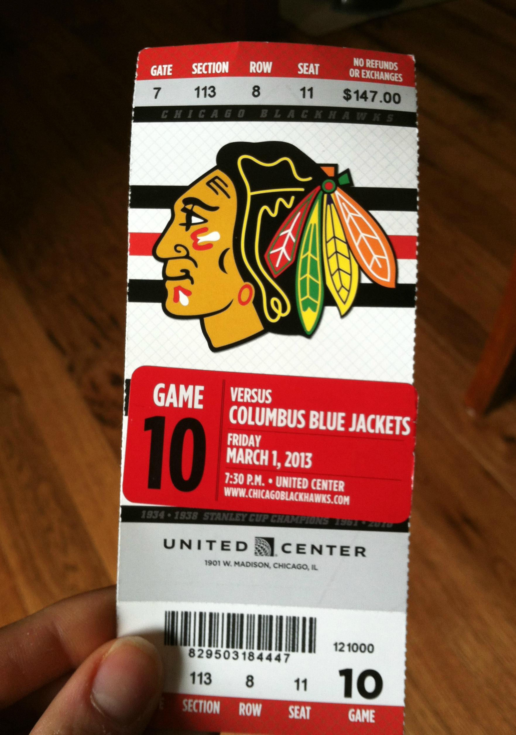 Blackhawks tickets Gifts Pinterest
