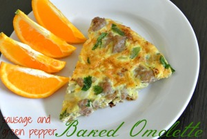 Sausage and green pepper baked omelette