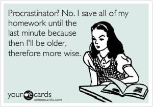 E Cards - School Procrastination Homework