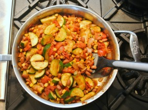 southwestern zucchini and bean saute 1
