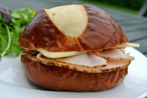 turkey cheese pretzel sandwich 2