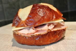 turkey cheese pretzel sandwich