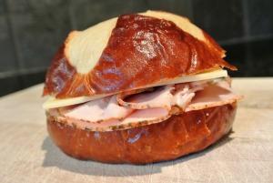 turkey cheese pretzel sandwich