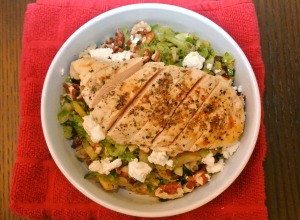 warm brussel sprouts salad and chicken