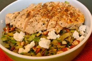 warm brussel sprouts salad with chicken 2