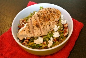 warm brussel sprouts salad with chicken