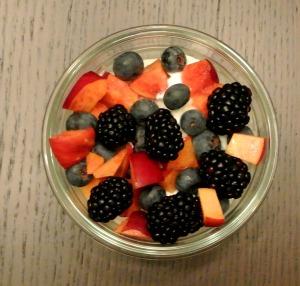 berries nectarines yogurt