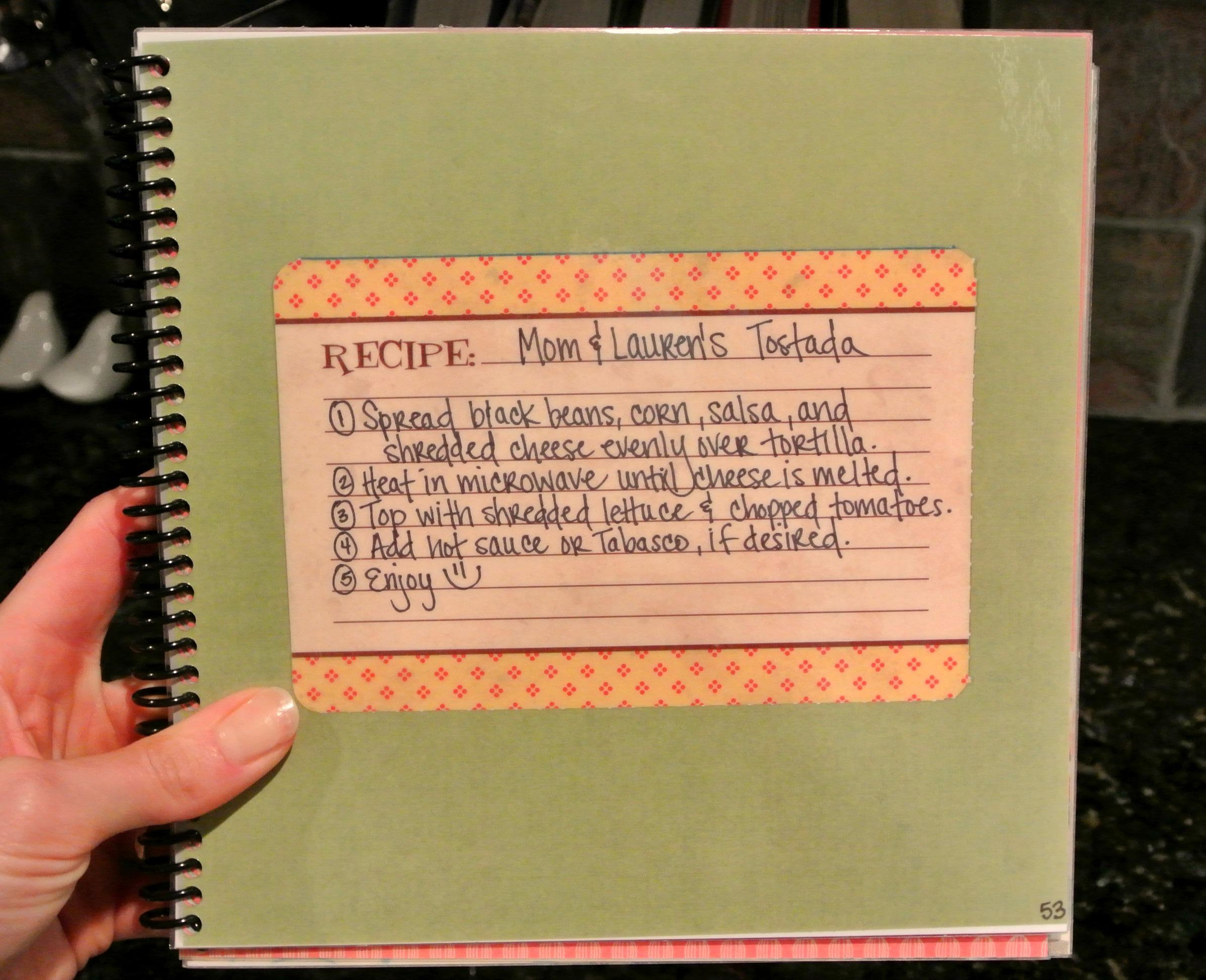 Scrapbook paper cooking - Mom Lauren S Tostada Recipe